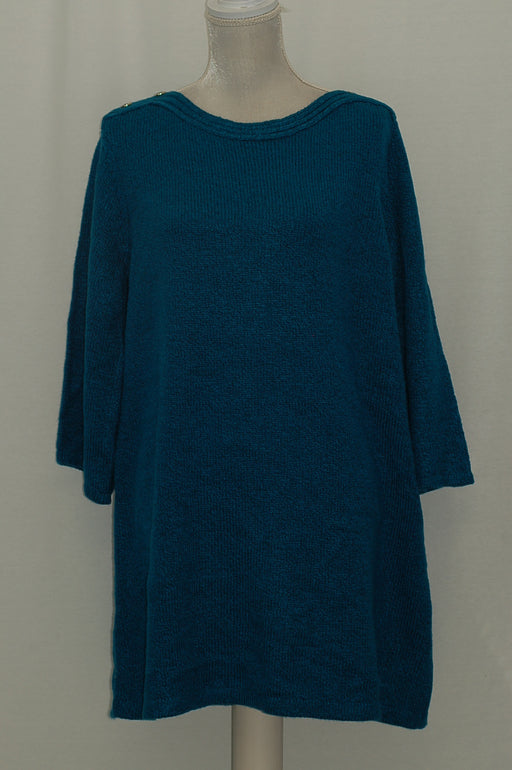 Karen Scott Boat-Neck Marled Sweater Tunic True Teal Marl L
