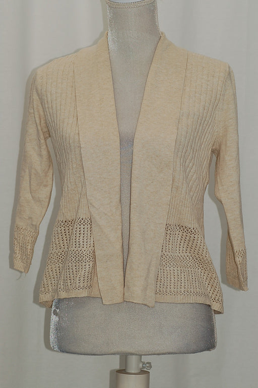 Karen Scott Petite Open Pointelle-Knit Cardigan Walnut Heather PXL
