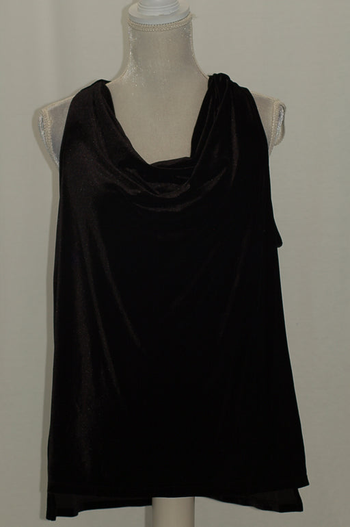 Calvin Klein Cowl-Neck Charmeuse Top Black M