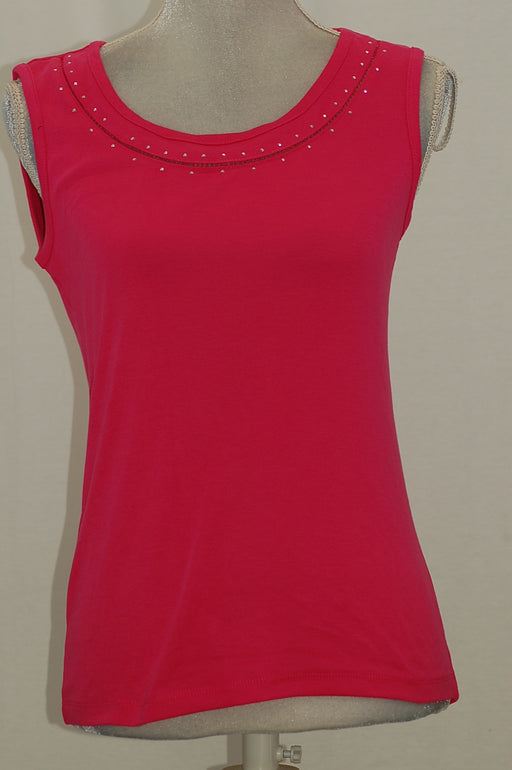 Karen Scott Cotton Studded Tank Top Steel Rose XS
