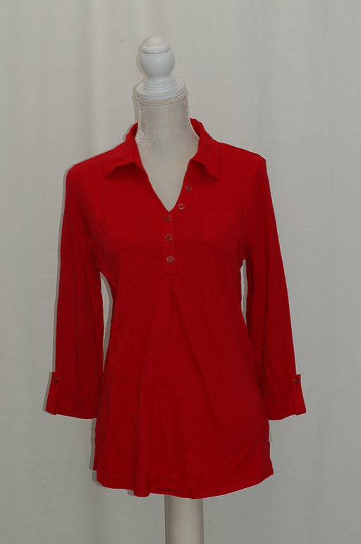 Karen Scott Polo Tunic New Red Amore XS