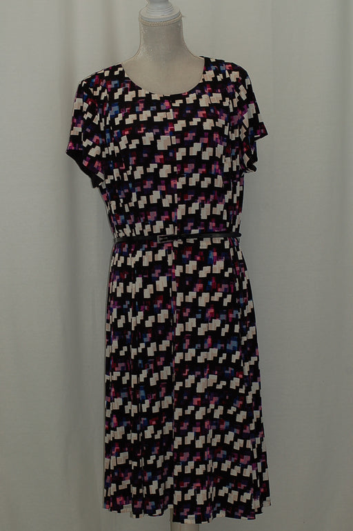 Jessica Howard Plus Size Belted Geo-Print Dre Purple 18W
