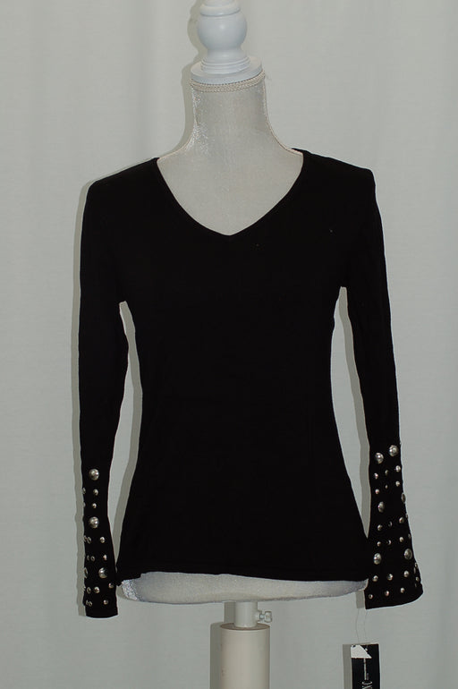 INC International Concepts Petite Embellished Bell-Sleeve Deep Black PL