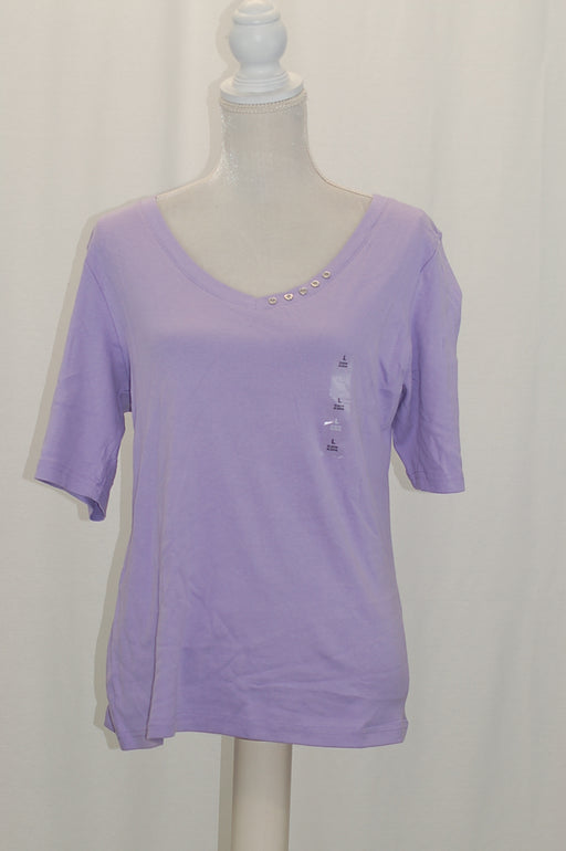 Karen Scott Elbow-Sleeve Cotton Top Lilac Sachet L