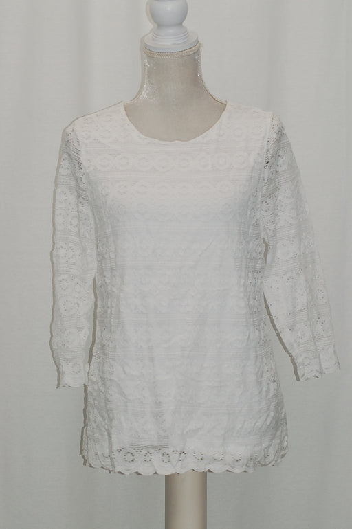 Charter Club 34-Sleeve Lace Top Bright White L