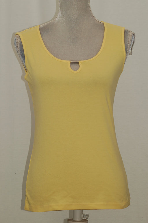 Karen Scott Keyhole-Cutout Sleeveless Top Lemon Sugar XS