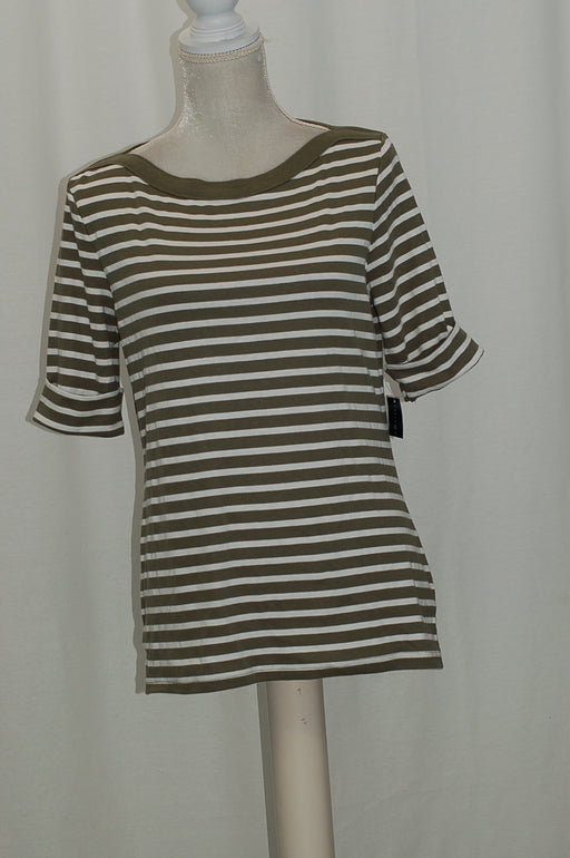 Karen Scott Striped Elbow-Sleeve Top Olive Vine M
