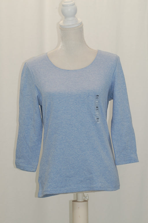 Karen Scott Petite Cotton Scoop-Neck Top Light Blue Htr PM