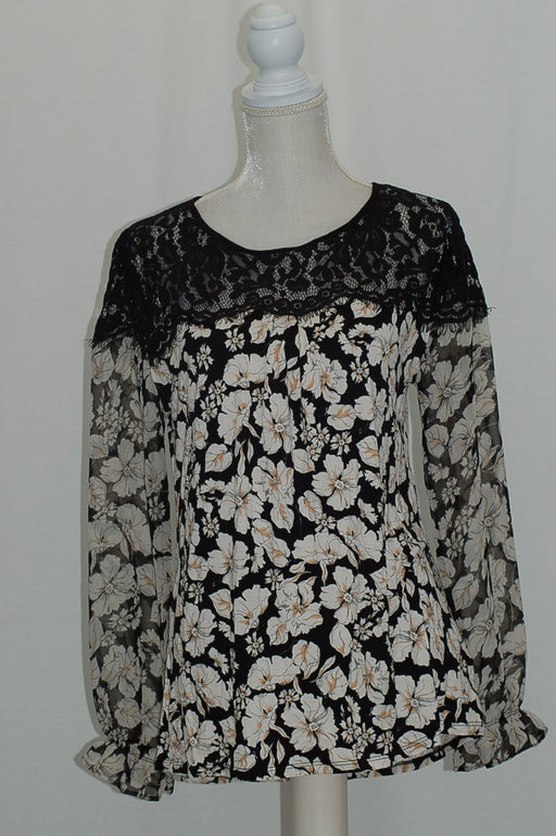 August Silk Mixed-Media Illusion Blouse Floral L