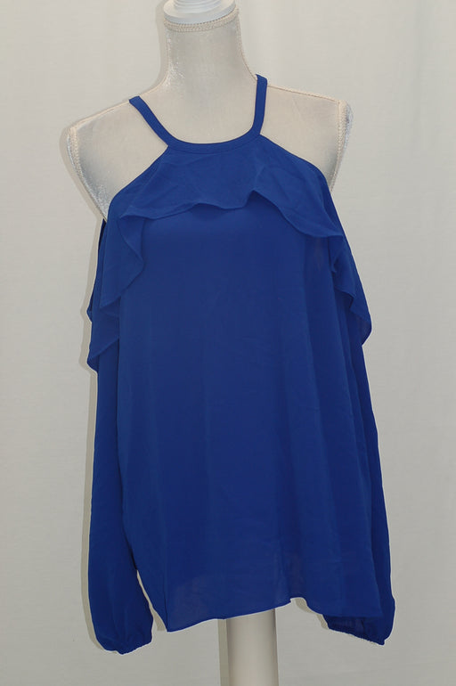Michael Kors Flounce Cold-Shoulder Top Bright Royal XL