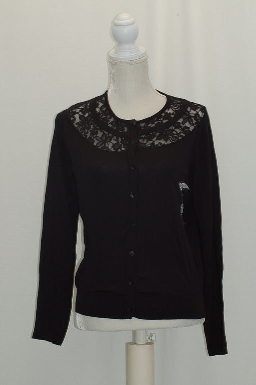 August Silk Embroidered Long-Sleeve Cardigan Black L