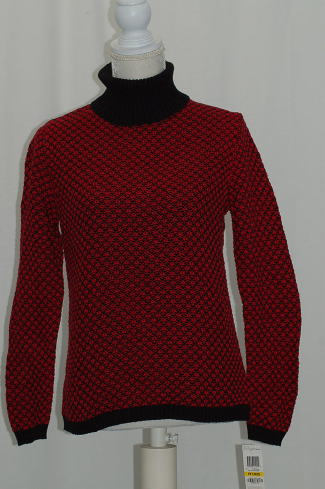 Karen Scott Petite Patterned Turtleneck Sweater New Red Amore Combo PM