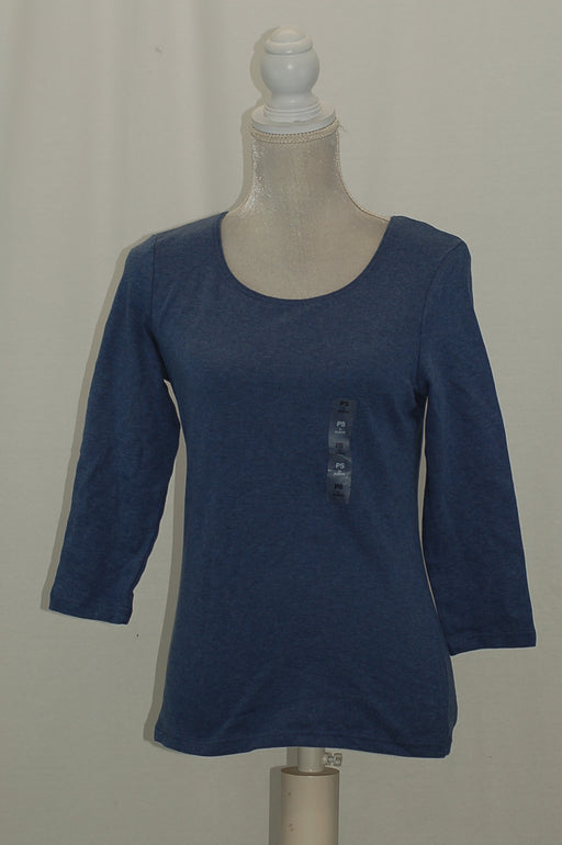 Karen Scott Petite Cotton Scoop-Neck Top Heather Indigo PS
