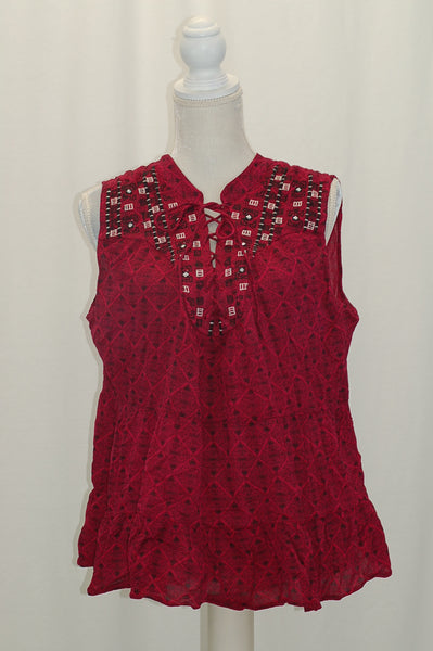 Style Co Petite Printed Embroidered Lac Diamonds Magenta PXL