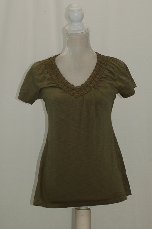 Karen Scott V-neck Crochet Top Olive Sprig XS