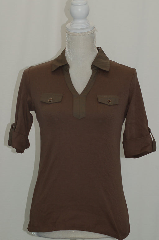 Karen Scott Cotton Roll-Tab-Sleeve Shirt Brown Clay XS