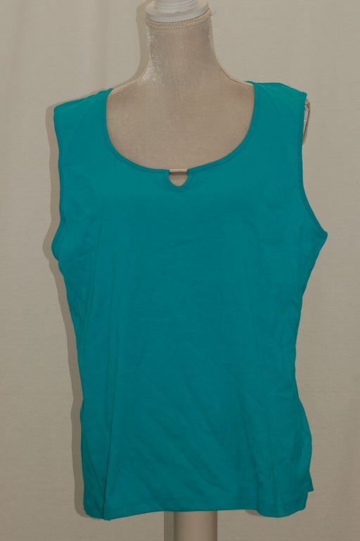 Karen Scott Keyhole-Cutout Sleeveless Top Crisp Teal XXL