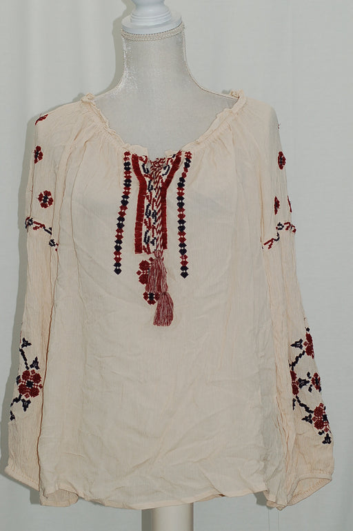 JPR Embroidered Peasant Top Stone Embroidered L