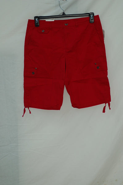 Style Co Ruched Bermuda Shorts New Red Amore 18