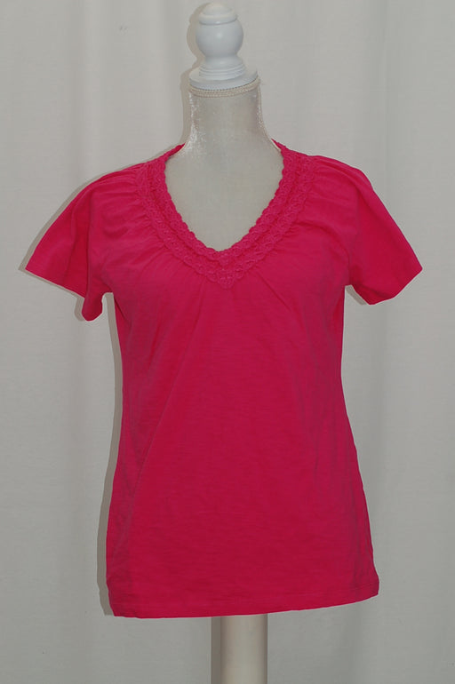 Karen Scott Petite Crochet-Neck Cotton Top Jmc Steel Rose PS
