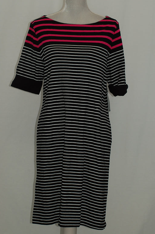Karen Scott Elbow-Sleeve Striped Dress Deep Black Combo L