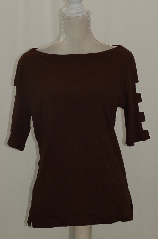 Karen Scott Cotton Cutout Top Chocolate M