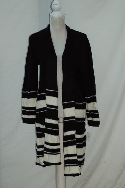Style & Co Sweater Stripe Yummy Openfront Cardigan Black XL