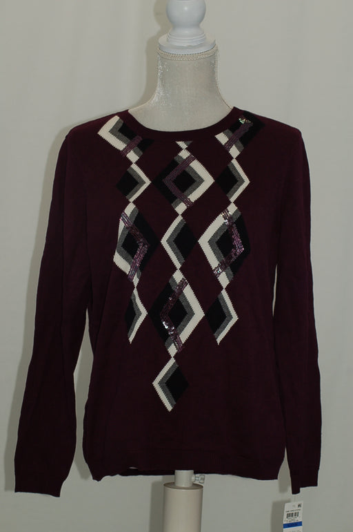 Charter Club Argyle Sweater, Created for Ma Damask Plum Combo XL