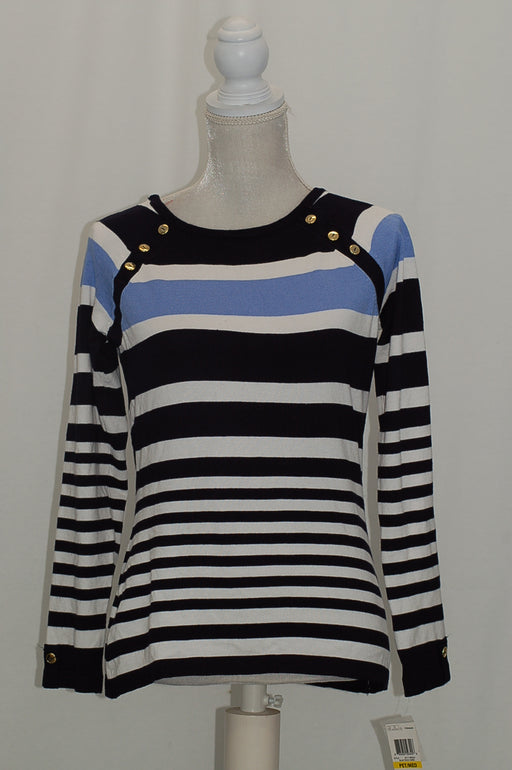 Karen Scott Petite Resort Striped Sweater Blue Finch Combo PL
