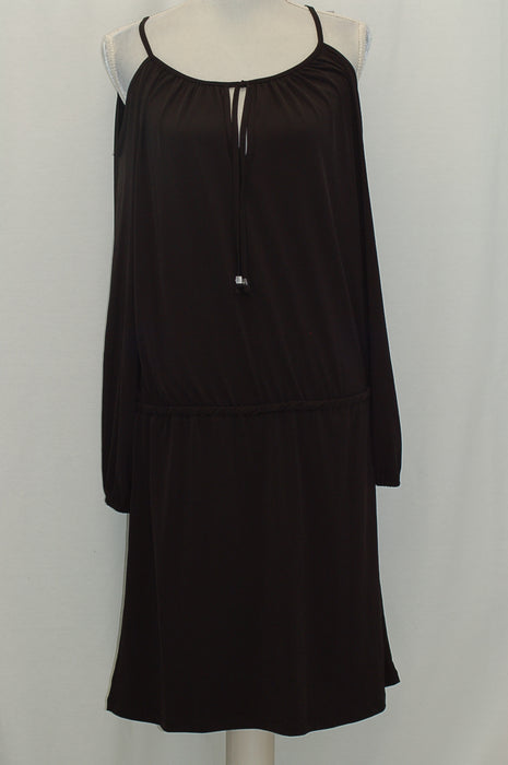 Michael Kors Cold-Shoulder Peasant Dress Black XL