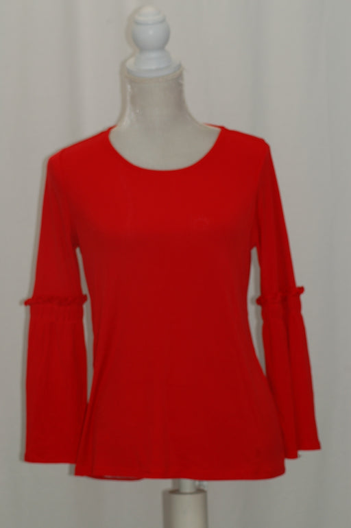 Alfani Petite Ribbed Bell-Sleeve Top Red PM