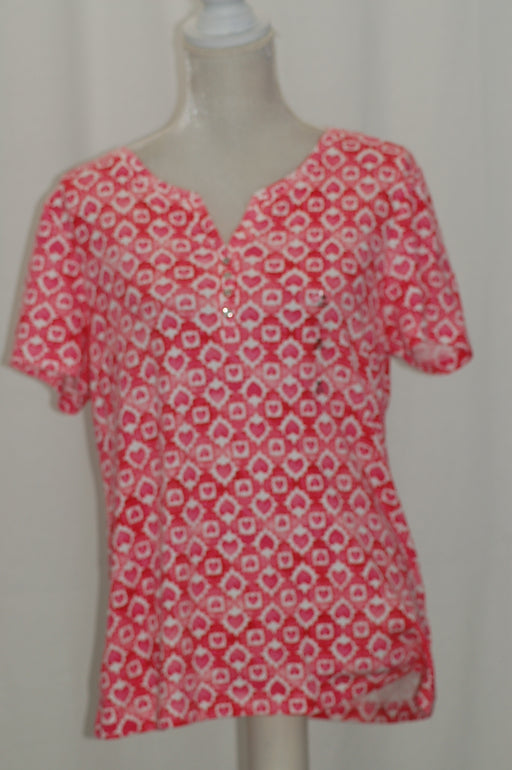 Karen Scott Floral-Print Henley Top Steel Rose Tile Combo S