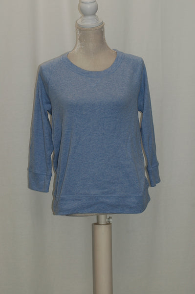 JM Collection Three-Quarter-Sleeve Scoop-Neck Soft Blue L