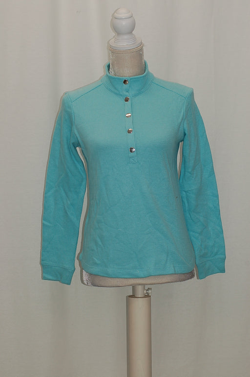 Karen Scott Petite Snap-Collar Top Angel Blue PS