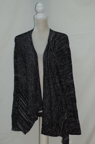 Style & Co Sweater Marl Drape Cardigan Black LARGE