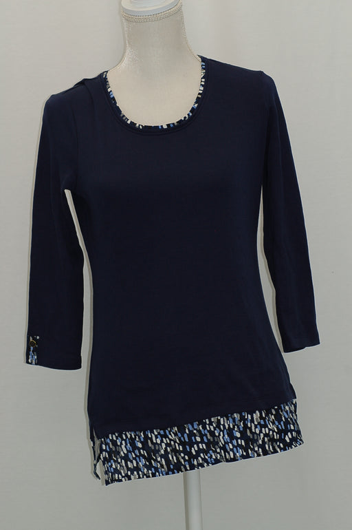Karen Scott Printed-Trim Top Intrepid Blue XS