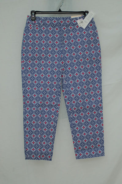 Charter Club Printed Cropped Straight-Leg Pant Modern Blue 6
