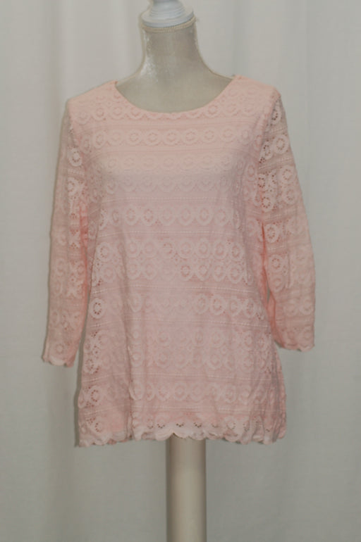 Charter Club 3/4-Sleeve Lace Top Misty Pink XL