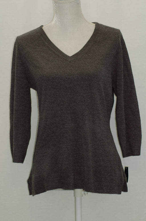 Karen Scott Petite V-Neck Sweater Charcoal Heather PL