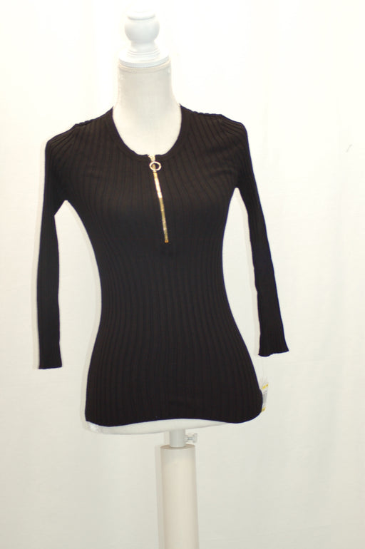 INC International Concepts Petite Zip-Up Ribbed Sweater Deep Black PM