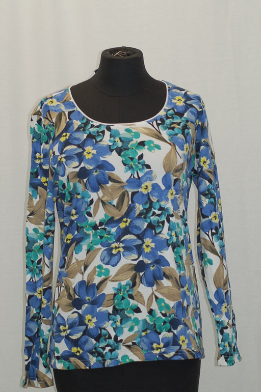 Karen Scott Print Long-Sleeve T-Shirt Bright White Floral Combo S