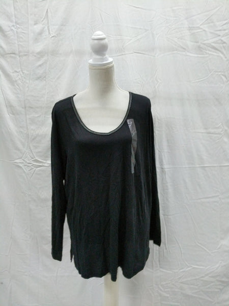 Charter Club Plus Size Lurex-Threaded Cotton Top Black 1X