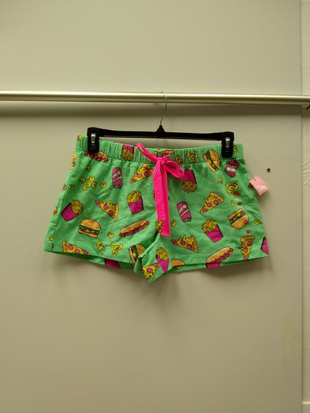 Jenni Cotton Flannel Pajama Shorts Junk Food M