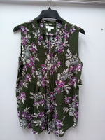 Charter Club Print Sleeveless Shirt Region Green Combo L