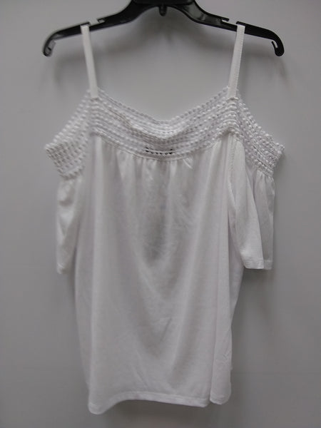 Cable Gauge Cold-Shoulder Top White XL