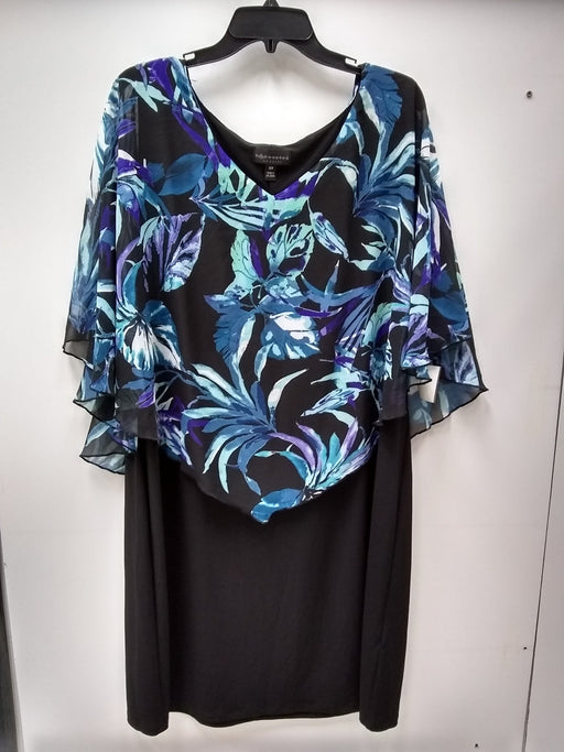 Connected Plus Size Floral-Print Cape Dress Blue Multi 20W