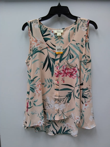 Style Co Printed Sleeveless Blouse Painted Garden S