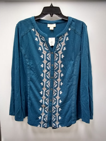 Style Co Embroidered Split-Neck Shirt Rich Teal L