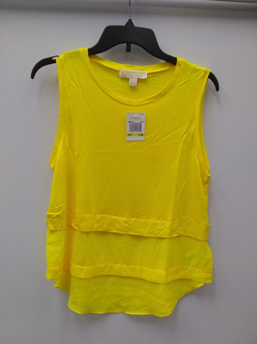 Michael Kors Petite Sleeveless Tiered Top Citrus PM