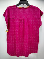 Style Co Printed Embroidered Top Global Magenta S